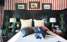 现代中式卧室装修效果图