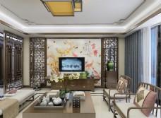 新中式电视背景墙MAX源文件下载