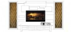 现代电视背景墙SU草图大师skp模型