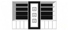 简约现代电视背景墙柜子skp模型