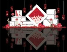 红白色方块婚礼迎宾区效果图