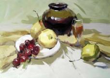 黄色调水果静物装饰画