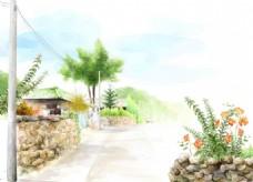 道路旁屋手绘小清新背景墙