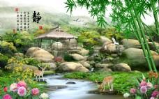 大自然山水画背景墙
