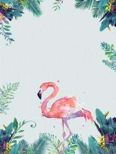 粉色火烈鸟玄关背景墙装饰画