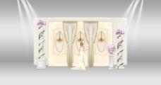 欧式罗马柱水晶灯婚礼迎宾区展示签到效果图