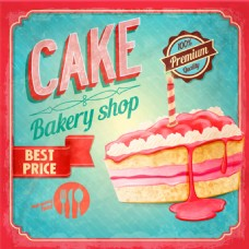 粉色三角蛋糕面包店复古海报矢量素材