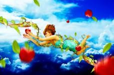 天空中飞舞的藤蔓美女海报