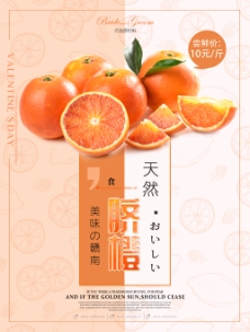 天然美味赣南脐橙水果促销海报