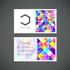 彩色菱形装饰商务名片矢量图