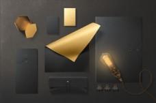 金色复古文件袋VI样机设计PSD