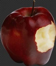 被咬一口的红苹果免抠png透明图层素材