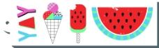 夏日西瓜棒冰卡片夏天卡通创意矢量背景