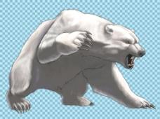 手绘凶狠的北极熊免抠png透明图层素材