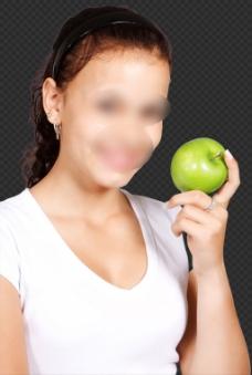 漂亮美女拿苹果图片免抠png透明图层素材