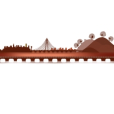 手绘褐色山坡元素