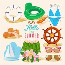 夏日度假卡通装饰素材矢量