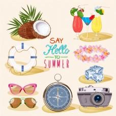 沙滩物品夏日度假卡通装饰素材矢量