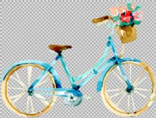 手绘蓝色自行车插画免抠png透明图层素材