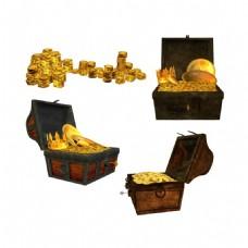 手绘金币财富宝箱元素