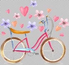 爱情主题自行车插画免抠png透明图层素材