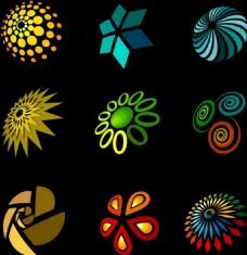装饰灯的设计元素各种颜色的形状隔离