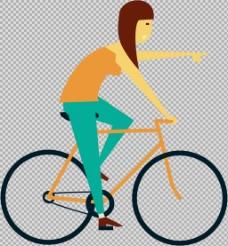 女人骑自行车插画免抠png透明图层素材
