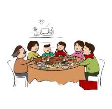 卡通人物一家人吃饭png元素