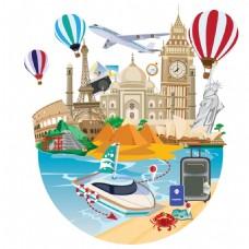 巴黎旅游创意夏日插画风海滩建筑矢量素材