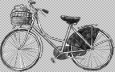 手绘素描风格自行车插画免抠png透明素材