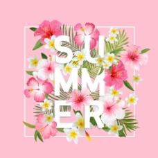 粉色春夏花卉海报矢量
