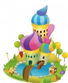 彩色城堡png免扣元素