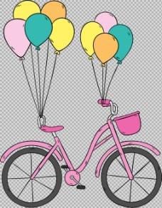 彩色气球单车自行车免抠png透明图层素材