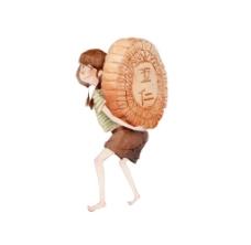 卡通小女孩背月饼png免扣元素