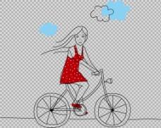 红衣女孩骑自行车插画免抠png透明素材