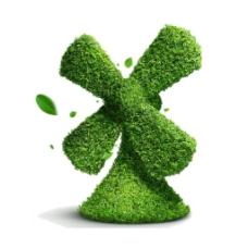 绿色树叶风车元素