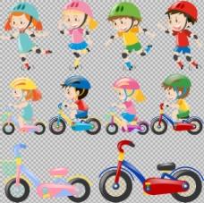 儿童玩具自行车插画免抠png透明图层素材
