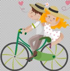 浪漫情侣骑自行车插画免抠png透明素材