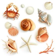 卡通夏日海滩装饰素材