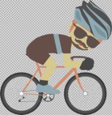 运动员骑自行车插画免抠png透明图层素材