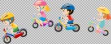 儿童单车自行车插画免抠png透明图层素材