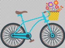 手绘鲜花自行车插画免抠png透明图层素材
