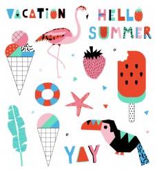 可爱卡通夏日装饰元素