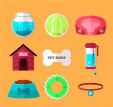9款彩色宠物店物品元素矢量素材