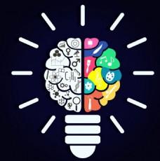 灯泡大脑矢量素材