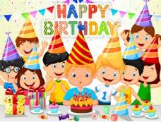 9个卡通开生日派对的儿童矢量素材