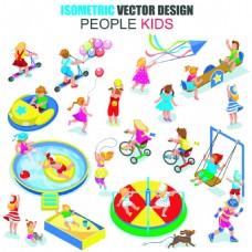 儿童乐园公园人物矢量EPS设计素材