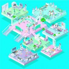 粉色儿童医院人物矢量EPS设计素材