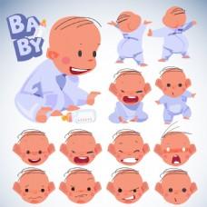 可爱婴儿表情插画