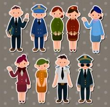 服务人员卡通插画